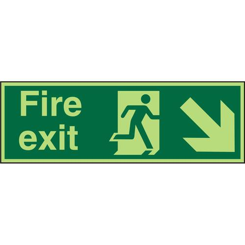 PhotolumSgns 450x150 FireExit Man Running Right&Arrow brhc Ref PACSP123450x150 *Up to 10 Day Leadtime*