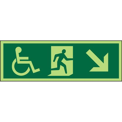 Photol Exit Sign 2mm Wheelchair PictoMan runleft Arrow left down Ref PDSP065450x150 *Upto 10Day Leadtime*