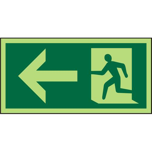 Photolum Sign 300x150 1mm Plastic Man Running & Arrow left Ref PSP066SRP300x150 *Up to 10 Day Leadtime*
