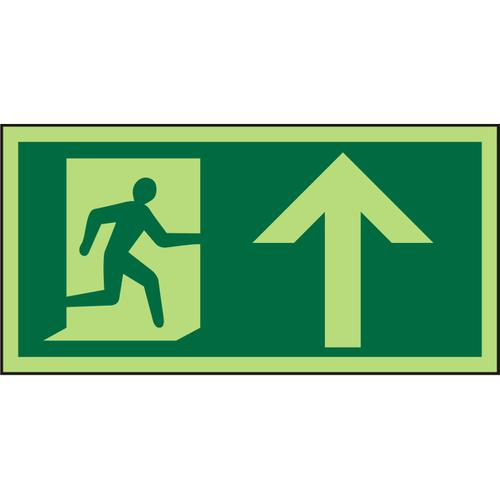 Photolu Sign 300x150 1mm Plastic Man Running Right&Arrow up Ref PSP094SRP300x150 *Up to 10 Day Leadtime*