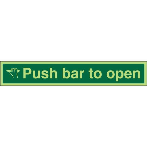 Photolum Safe Sign 600x100 S/A Vinyl Push Bar To Open Ref PSP127SAV600x100 *Up to 10 Day Leadtime*
