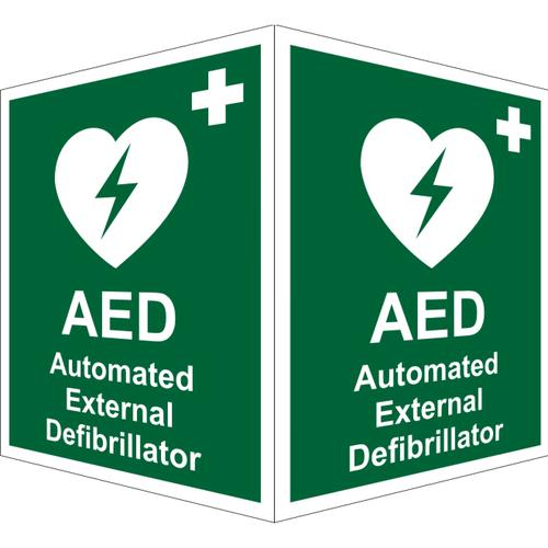Protruding First Aid Sign 2 faces 150x200 each 1mm AED (Ext) Ref SP309SRP150x200 *Up to 10 Day Leadtime*