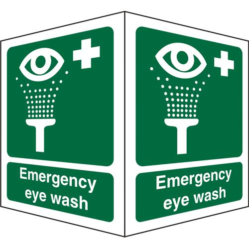Protruding Sign 2 faces 150x200 each 1mm Emergency Eye Wash Ref SP311SRP150x200 *Up to 10 Day Leadtime*
