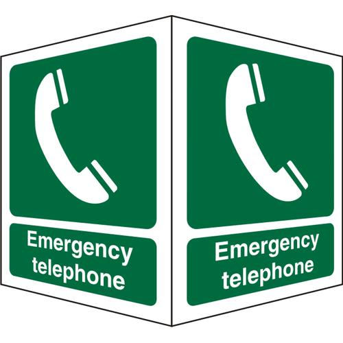 Protruding FirstAid Sign 2 faces each Emergency Telephone Ref SP313SRP150x200 *Up to 10 Day Leadtime*