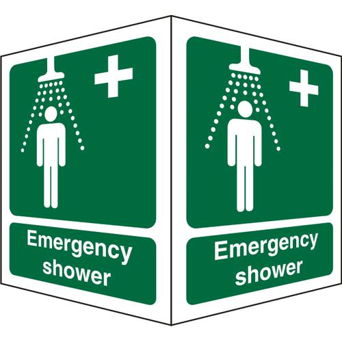 Protruding Sign 2 faces 150x200 each 1mm Emergency Shower Ref SP314SRP150x200 *Up to 10 Day Leadtime*
