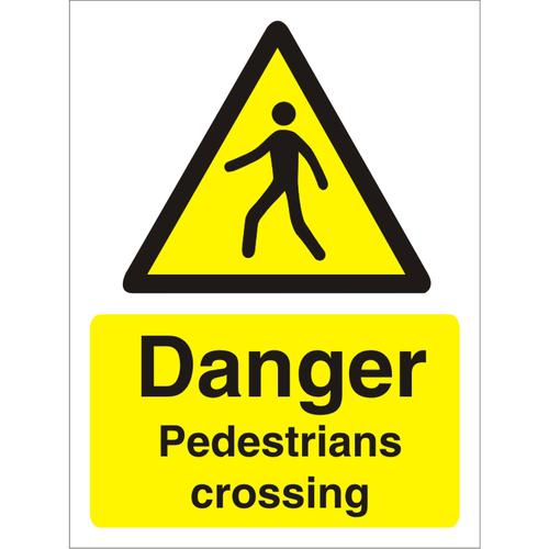 Warning Sign 300x400 1mm Plastic Danger Pedestrians crossing Ref W0184SRP300x400 *Up to 10 Day Leadtime*