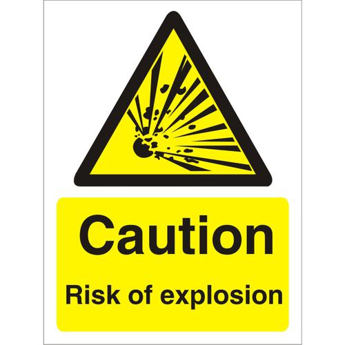 Warning Sign 300x400 1mm Plastic Caution Risk of explosion Ref W0226SRP300x400 *Up to 10 Day Leadtime*