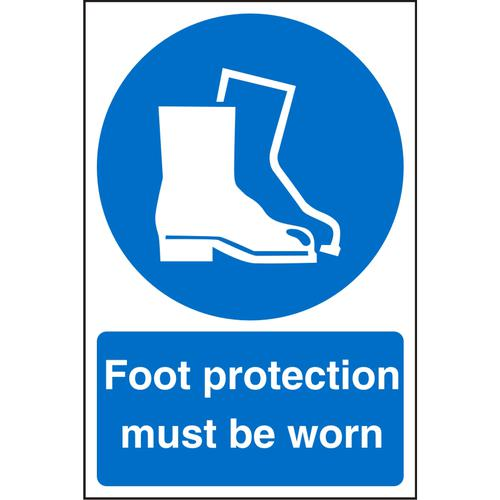 WarehouseSign 400x600 Plastic Foot protection must be worn Ref WPM03SRP400x600 *Up to 10 Day Leadtime*