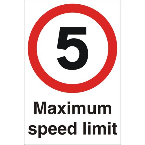 Warehouse Sign 400x600 1mm Plastic 5 Maximum speed limit Ref WPP01SRP-400x600 *Up to 10 Day Leadtime*