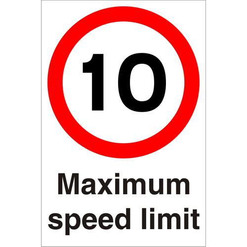Warehouse Sign 400x600 1mm Plastic 10 Maximum speed limit Ref WPP02SRP-400x600 *Up to 10 Day Leadtime*