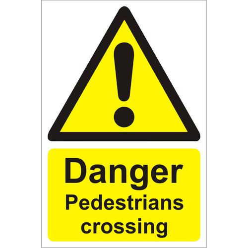 Warehouse Sign 400x600 Plastic Danger Pedestrians crossing Ref WPW03SRP400x600 *Up to 10 Day Leadtime*