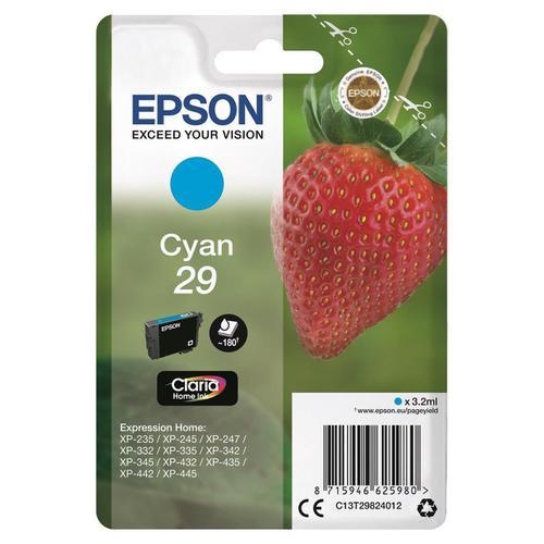 Epson 29 InkJet Cartridge Strawberry Page Life 180pp 3.2ml Cyan Ref C13T29824012