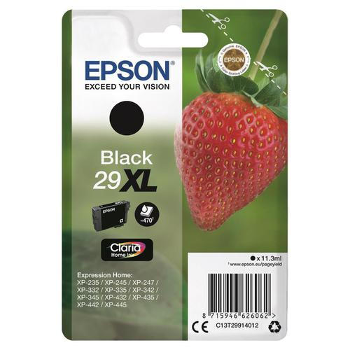 Epson 29XL InkJet Cartridge Strawberry High Yield Page Life 470pp 11.3ml Black Ref C13T29914012  136575