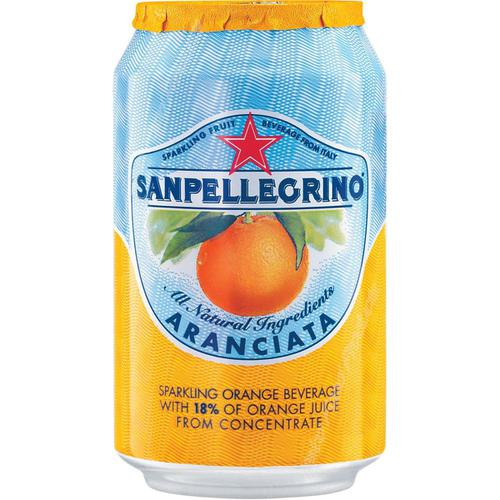 San Pellegrino Sparkling Orange Citrus Soft Drink 330ml Can Ref N003998 [Pack 24]