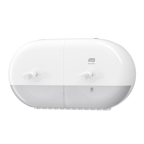 Tork SmartOne Twin Mini Toilet Roll Dispenser W398156x221mm White Ref 682000