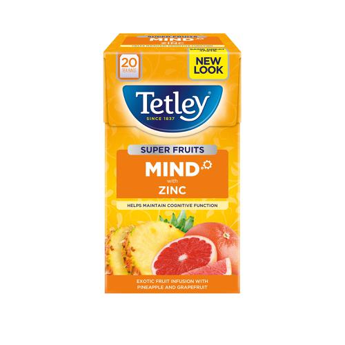 Tetley Super Green Tea MIND Zinc Exotic Fruit Infusion with Pineapple and Grapefruit Ref 4621A [Pack 20]
