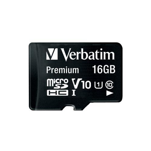 Verbatim Micro SDHC Card Including Adapter 16GB Black Ref 44082