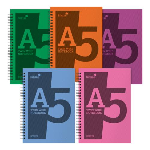 Silvine Notebook Polypropylene Wirebound 56gsm Ruled 160pp A5 Assorted Ref POLYA5AC[Pack 10]