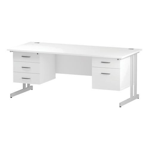 Trexus Rectangular Desk White Cantilever Leg 1800x800mm Double Fixed Ped 2&3 Drawers White Ref I002244