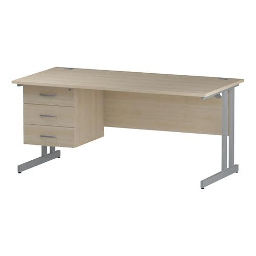 Trexus Rectangular Desk Silver Cantilever Leg 1600x800mm Fixed Pedestal 3 Drawers Maple Ref I002441