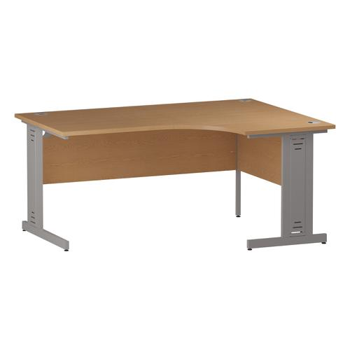 Trexus Radial Desk Right Hand Silver Cable Managed Leg 1600/1200mm Oak Ref I000864