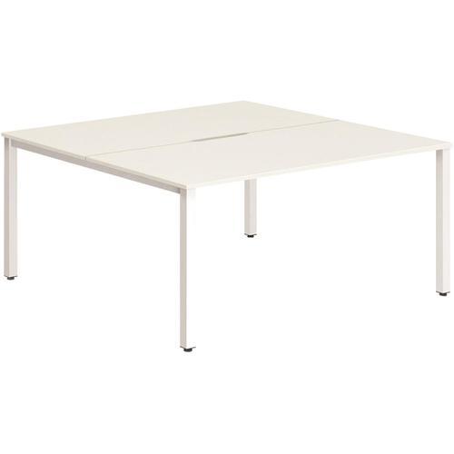 Trexus Bench Desk 2 Person Back to Back Configuration White Leg 1600x1600mm White Ref BE150