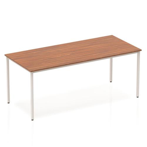 Trexus Rectangular Box Frame Silver Leg Table 1800x800mm Walnut Ref BF00144