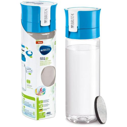 Brita Fill & Go Vital Filtering Water Bottle Pull-out Mouthpiece Flip-top Lid 600ml Blue Ref 1031144