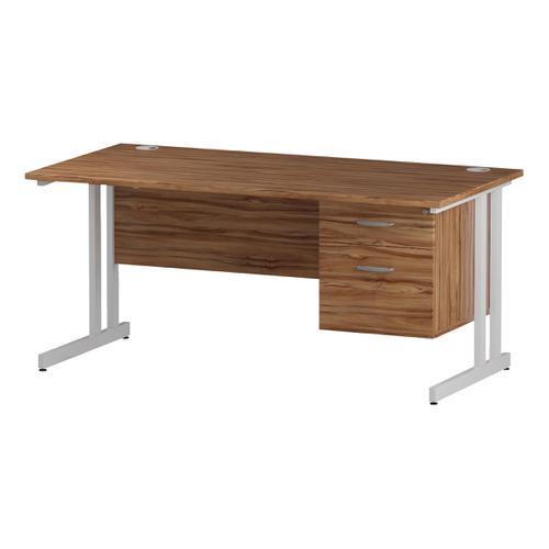 Trexus Rectangular Desk White Cantilever Leg 1600x800mm Fixed Pedestal 2 Drawers Walnut Ref I001925