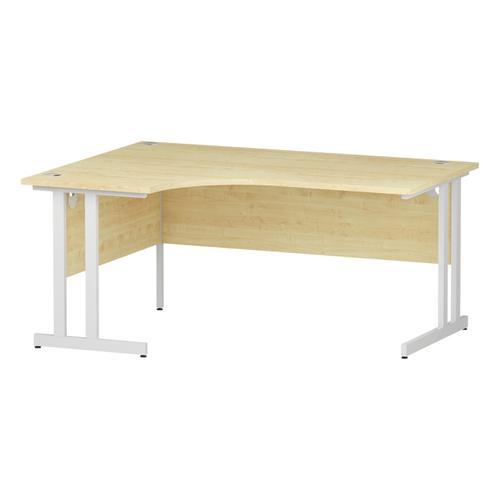 Trexus Radial Desk Left Hand White Cantilever Leg 1600mm Maple Ref I002618