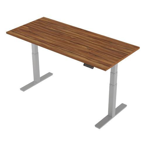 Trexus Sit-Stand Desk Height-adjustable Silver Leg Frame 1800/800mm Walnut Ref HA01008