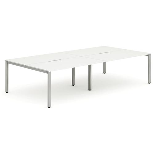 Trexus Bench Desk 4 Person Back to Back Configuration Silver Leg 2400x1600mm White Ref BE260