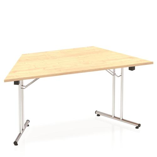 Sonix Trapezoidal Chrome Leg Folding Meeting Table 1600x800mm Maple Ref I000720