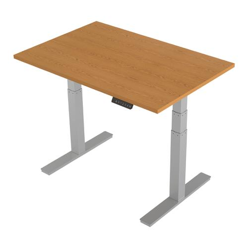 Trexus Sit-Stand Desk Height-adjustable Silver Leg Frame 1200/800mm Oak Ref HA01017