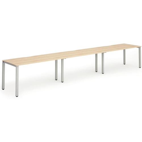Trexus Bench Desk 3 Person Side to Side Configuration Silver Leg 4800x800mm Maple Ref BE406