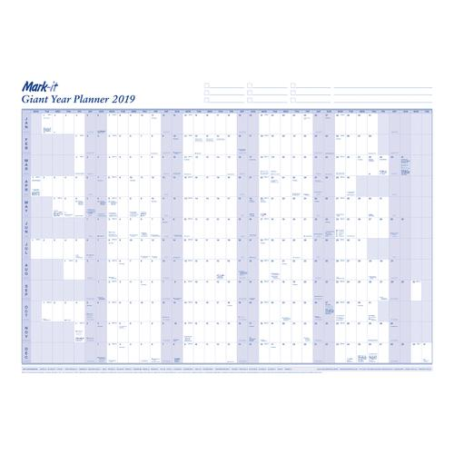 Mark-it 2019 Giant Year Planner Unmounted Landscape with Accessory Kit 1165x820mm Blue/White Ref 19YP