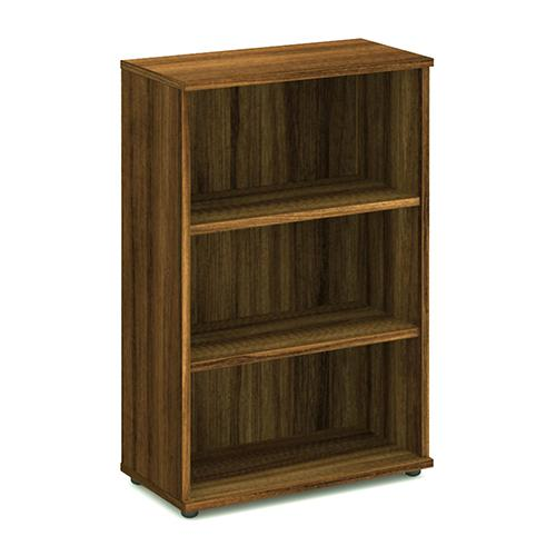 Trexus Office Medium Bookcase 800x400x1200mm 2 Shelves Walnut Ref I000110