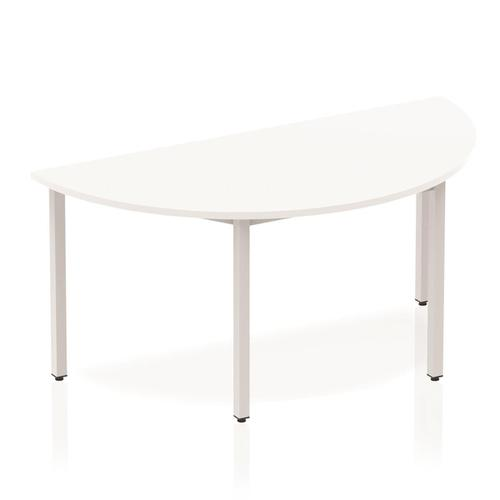 Trexus Semi-circular Box Frame Silver Leg Table 1600x800mm White Ref BF00125
