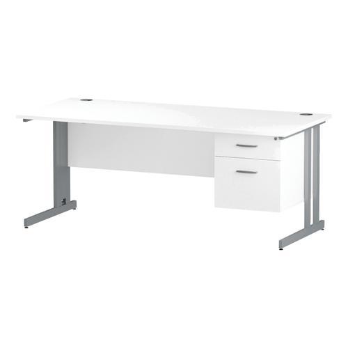 Trexus Rectangular Desk Silver Cantilever Leg 1800x800mm Fixed Pedestal 2 Drawers White Ref I002208