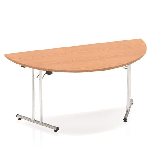 Sonix Semi-circular Chrome Leg Folding Meeting Table 1600x800mm Oak Ref I000800