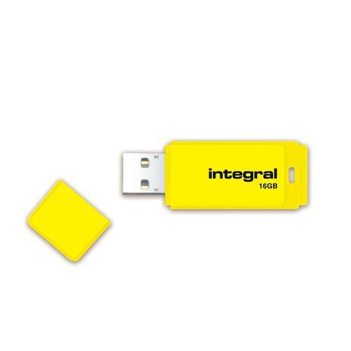 Integral Neon USB Drive 2.0 Capacity 16GB Yellow Ref INFD16GBNEONYL