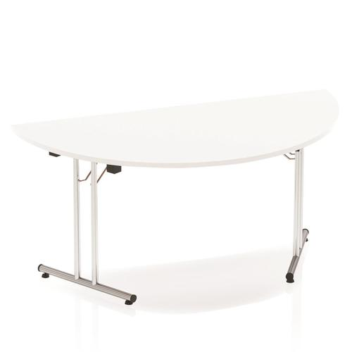 Sonix Semi-circular Chrome Leg Folding Meeting Table 1600x800mm White Ref I000712