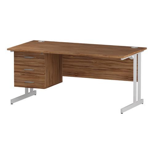 Trexus Rectangular Desk White Cantilever Leg 1600x800mm Fixed Pedestal 3 Drawers Walnut Ref I001933