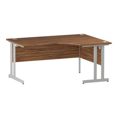 Trexus Radial Desk Right Hand White Cantilever Leg 1600mm Walnut Ref I002135
