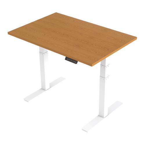 Trexus Sit Stand Desk Height-adjustable White Leg Frame 1200/800mm Oak Ref HA01037