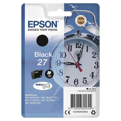Epson 27 Ink Cartridge Alarm Clock Page Life 350pp 6.2ml Black Ref C13T27014012