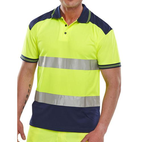 BSeen Polo Shirt Hi-Vis Polyester Two Tone XS Yellow/Navy Ref CPKSTTENSYXS *Up to 3 Day Leadtime*