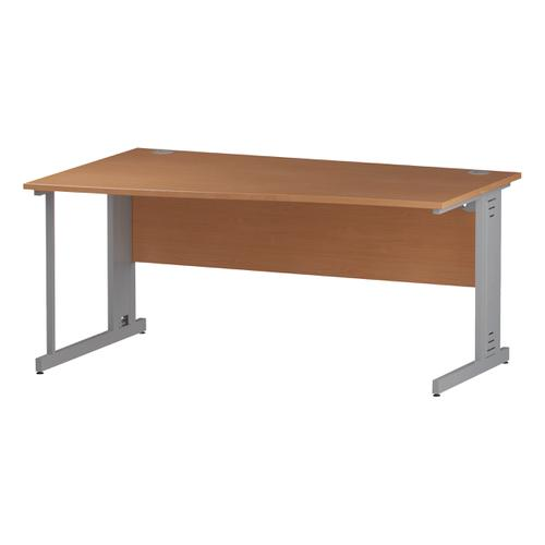 Trexus Wave Desk Left Hand Silver Cable Managed Leg 1600mm Beech Ref I000465