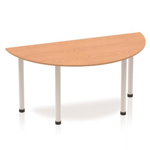 Sonix Semi-circular Silver Post Leg Table 1600x800mm Oak Ref BF00183