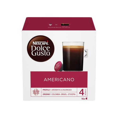 Nescafe Americano Capsules for Dolce Gusto Machine Ref 12117294 Pack 48 (3x16 Capsules=48 Drinks)